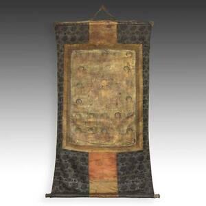 VERY RARE ANTIQUE THANGKA PAINTING AMITABHA GREEN TARA TIBET BUDDHISM 18TH C.