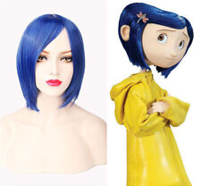 Coraline Cosplay Wig Short Bob Straight Blue Hair Halloween party Full Wigs