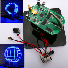 Blue DIY Spherical Rotating 56 LED POV Soldering Welding Electronic Part Kit