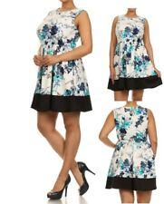 D60 Womens Size 14/16 Blue Sleveless Cocktail Wedding Party Floral Dress Plus
