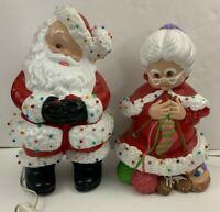 Vintage Atlantic Mold Ceramic Mr & Mrs Santa Claus Winking Knitting Light Up!