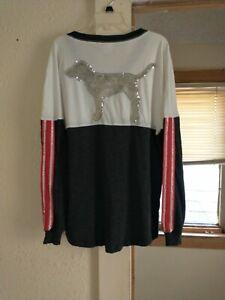 Victoria's Secret PINK Bling Campus Long Sleeve Shirt Sequin Dog Rhinestone(M)