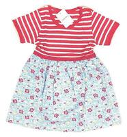 Little Bitty- Girls 2T Pink White Striped Short Sleeve Floral Design Dress