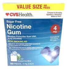CVS Health Nicotine Gum 4 Mg Coated Ice MINT . 160 Pieces EXP  : 02/21