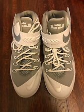 NEW Nike Lebron XII Soldiers White/Gray Basketball Athletic Shoes Youth GS Size