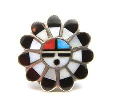 Vintage Zuni Inlay Sun-God Ring Unisex Sterling Mother Pearl Turquoise Coral