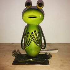 Yoga Frog. Metalwork. Mexico. Cute! 9 Inches Tall. Nwt. Holds your cellphone!