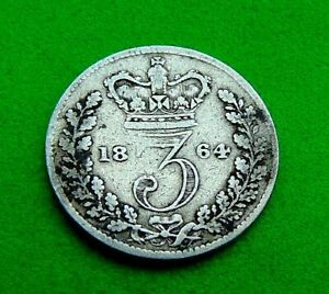 BETTER  F/VF  VICTORIAN  *1864*  SILVER  THREEPENCE  3d ...LUCIDO_8  COINS
