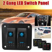 2 Gang Dual LED Light Bar Car Caravan Marine Boat Rv Rocker Switch Panel    !*