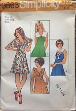Simplicity Sewing Pattern 9863 Misses Mini Dress Collar Variations Sz 10 UNCUT