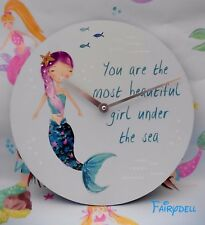 More details for mermaid wall clock pretty melody mermaid design 33cm ~ girls bedroom decor boxed
