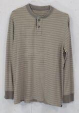 Eddie Bauer Legendwash Mens Grey Striped 100% Cotton Long Sleeve Henley Shirt LT