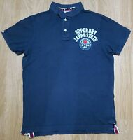Superdry Applique Polo T Shirt Tee Top Short Sleeves Navy Blue Ladies Size XL