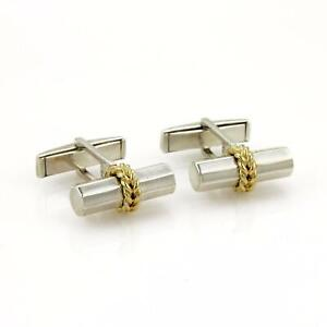 Tiffany & Co. Silver 18k Yellow Gold Long Post Stud Cufflinks