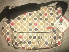 SKIP HOP Dash Deluxe Edition Messenger Baby Diaper Bag Brown Pink Changing Pad