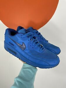 Electric Blue Leather Nike Air Max 90 Trainers Sneakers Shoes Men's UK Size 11