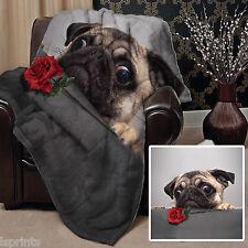 chien carlin avec rose rouge design Doux Couverture polaire Housse L&S motifs