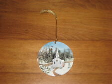 """Country Woman Christmas Ornament """"Snowy Morning At Country Haven Chapel�"""