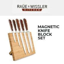 Magnetic Bamboo Knife Block Set Stainless Steel Utility Carving Bread Santoku
