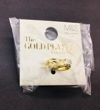 M&S Gold Plated Collection Diamonte Ring Dual Band Size M Medium RRP £18 Costume