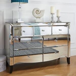 Birlea Palermo Mirrored 3 over 4 Drawer Bevelled Mirror Chest Crystal Handle