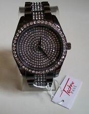 Mens hip hop Bling clubbing Black Hematite finish TECHNO PAVE Rapper Style watch