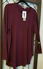 NWT Joan Vass Knit Top Women's Sz L Long Sleeve Burguny Stretch Scoop Neck