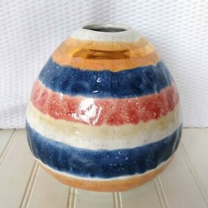 Anthropologie Pottery Vase By The Object Enthusiast Striped Speckled Retro