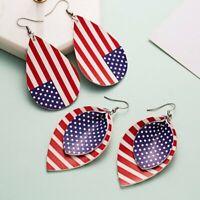 2Pairs Women American Flag Leather Earrings Leaf Teardrop Ear Hook Drop Dangle