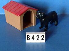 (B422) playmobil niche avec chien noir