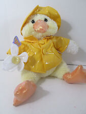 "Yellow Duck Plush in Raincoat & Hat 12"" Flower Butterfly Commonwealth"