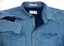 ORVIS NWOT MENS XL OUTDOORS JEAN DENIM FLEECE SHIRT JACKET VINTAGE BLUE FISH