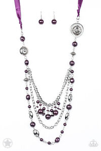 """Paparazzi Jewelry """"All The Trimmings"""" Purple Ribbon Necklace and Earrings"""
