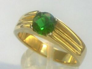 7 mm 316 Stainless Steel Solitaire May Green Emerald Men Gold Plate Ring Size 9