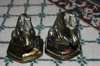 Vintage Cast Metal Horse Bookends-Gold Metal-Pair Bookends-LQQK