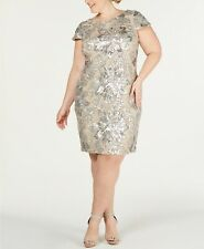 Calvin Klein NWT Exquisite SILVER/KHAKI Sequined Flower Cowl-Back Dress size 16W
