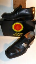 UK 9½ Black Leather Slip-On Dress Shoes & Dustbag by Gianni Versace