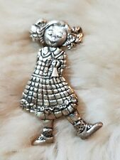 VINTAGE MEINK STERLING 925 SILVER GIRL WITH BOWS IN HAIR BROOCH PIN 6 GRAMS