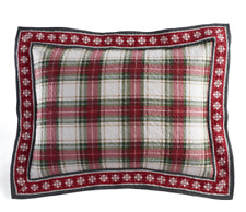Home Classics JOY 2pc STANDARD SHAMS Plaid COTTON Holiday PAIR NWT