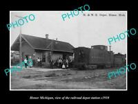 OLD LARGE HISTORIC PHOTO OF HONOR MICHIGAN, THE RAILROAD DEPOT STATION c1910