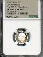 2019 S First .999 Fine Silver 10C First Day Of Issue Ngc Pf70 U.C. New Label