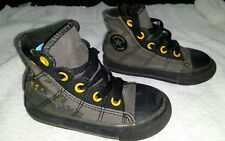 CONVERSE ALL STAR BLACK AND YELLOW BABY TODDLER HIGH TOP SHOES SIZE 5