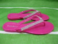 new Kid pink /gold flip flop bow Beach Cute jelly Sandal Size 2