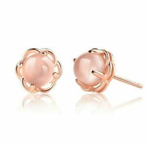 Women 925 Sterling Silver Pink Crystal Rose Gold Stud Earrings Jewellery Gift