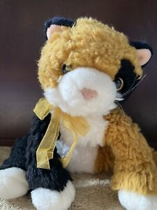 TY Kitty Cat White Black Brown Stuffed Animal Plush Toy Gold Ribbon Pre Owned