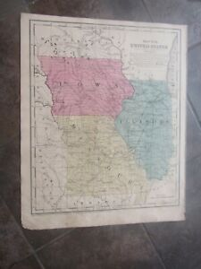 1853 ORIGINAL Map of Iowa, Illinois, Missouri
