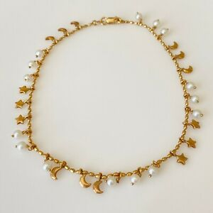 14k Italian Yellow Gold Moon Star Pearl Dangle Anklet