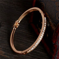 Womens Gold-plated Stainless Steel Lady Cuff Bangle Jewelry Crystal Bracelet