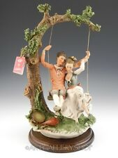 """Giuseppe Armani Italy Figurine Sculpture 16.5"""" Large Lovers On A Swing Boy Girl"""