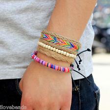 4PCs Retro Unisex Multilayer Multicolor Wooden Beads Leather Cuff Bracelet